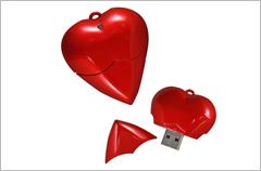 custom designed heart usb drives