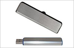 custom designed silver slider usb drives