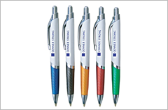white triangle barrel with color grip pens